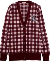 Christopher Kane Gingham Wool And Cashmere-blend Cardigan - Burgundy