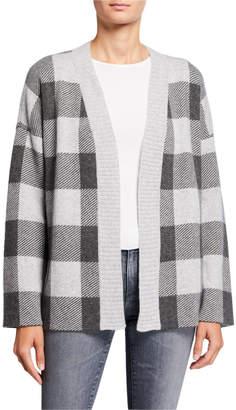 Neiman Marcus Cashmere Plaid Double-Knit Short Cardigan