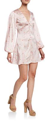 Ganni Floral-Print V-Neck Blouson-Sleeve Mini Dress