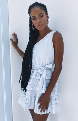Beginning Boutique Colombia Ruffle Dress Blue
