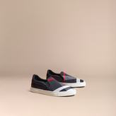 Burberry Canvas Check And Leather Slip-on Trainers