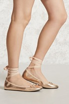 Forever 21 Lace-Up Metallic Ballet Flats