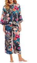 N by Natori Dreamy Floral Satin Cropped Pajamas