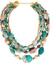 Jose & Maria Barrera Turquoise, Rose Quartz & Rhodonite Bead Necklace