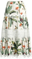 PatBO Lace-Trim Tropical Flare Midi Skirt