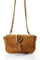 JOELLE HAWKENS by treesje Treesje Brown Leather Embellished Gold Tone Chain Strap Small Crossbody Bag
