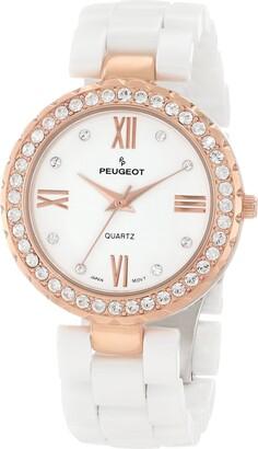 Peugeot Women's 7078wrg White Ceramic Swarovski Crystal Rose Gold Tone Bezel Watch