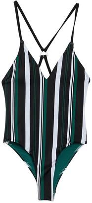 Dolce Vita V-Neck Stripe Print One-Piece Swimsuit