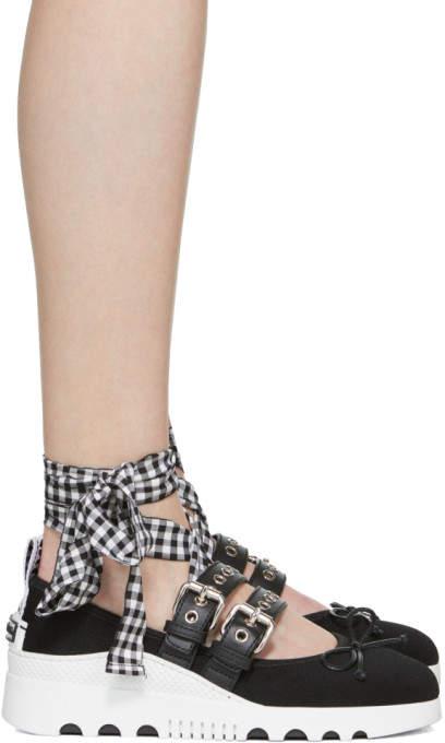 Miu Miu Black Double Band Ribbon Sneakers