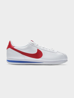 Nike Mens Basic Cortez Sneakers in White Red Leather