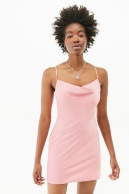 Urban Outfitters Mallory Cowl Slip Mini Dress - Black XS at