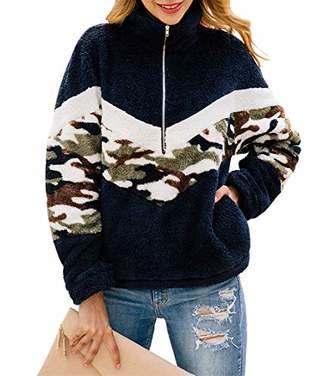 KIRUNDO 2019 Winter Women's Long Sleeves Sweatshirts Half Zipper Pullovers Fleece Sherpa Outwear Coat Tops with Pockets (