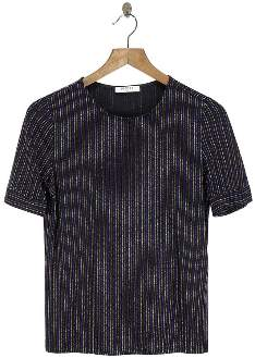 Pieces Black Top With Stripes And Glitter - M - Black