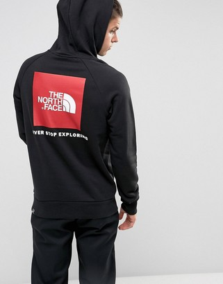 The North Face Raglan Hoodie Back Red Box Logo in Black