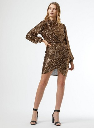 Dorothy Perkins Womens Bronze Sequin Wrap Skirt Dress