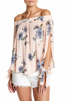 Hip Off-the-Shoulder Tie Sleeve Woven Blouse