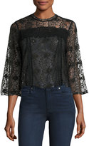 Romeo & Juliet Couture Floral-Lace 3/4-Sleeve Blouse, Black