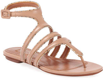 Alaia Flat Beaded Gladiator Thong Sandals