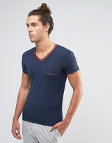 Emporio Armani Muscle Fit T-shirt In V-neck With Contrast Cuffs