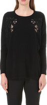 Sandro Benny lace-detail wool and cashmere-blend jumper