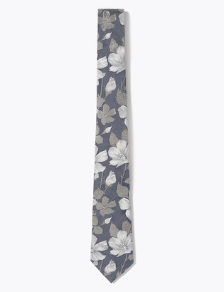 Marks and Spencer Slim Floral Pure Silk Tie