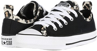 Converse Chuck Taylor(r) All Star(r) Double Upper Leopard Print (Little Kid/Big Kid) (Black/Driftwood/White) Girl's Shoes