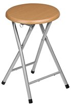 Camilla And Marc Premier Housewares Natural Rubberwood Folding Stool with Silver Legs, 45 x 30 x 30 cm