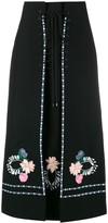 Vilshenko Ginny floral embroidered lace-up skirt