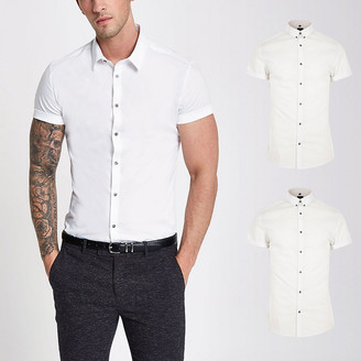River Island White muscle fit short sleeve shirt 2 pack