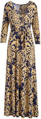 Modern Touch Women's Maxi Dresses Navy - Navy & Gold Damask Tie-Waist Faux Wrap Dress - Women