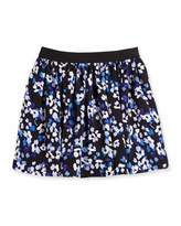 Kate Spade Hydrangea Floral Crepe Skirt, Black/Blue, Size 2-6