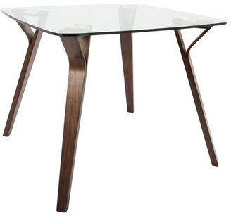 Marilyn Glass Top Dining Table AllModern Base Color: Clear Walnut