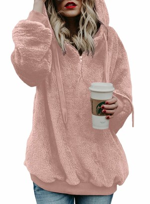 Actloe Women Casual Loose Fuzzy Hoodie Pullover Sweatshirt Cozy Outwear with Pockets Pink Small