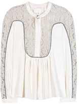 Chloé Linen And Silk Blouse With Lace Panels