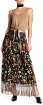 Alice + Olivia Kamryn Silk Embroidered Maxi Skirt