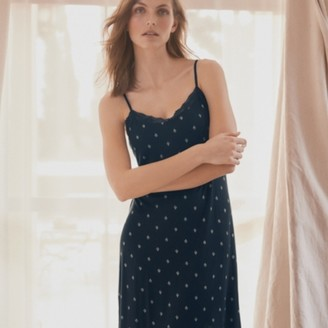 The White Company Woodblock Print Lace-Strap Nightie, Navy, Extra Small