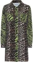 Ganni Leopard-print denim shirt dress