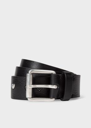 Paul Smith Men's Black Leather Metallic Symbols Belt