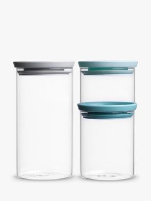 Brabantia Stackable Airtight Glass Storage Jars, Set of 3