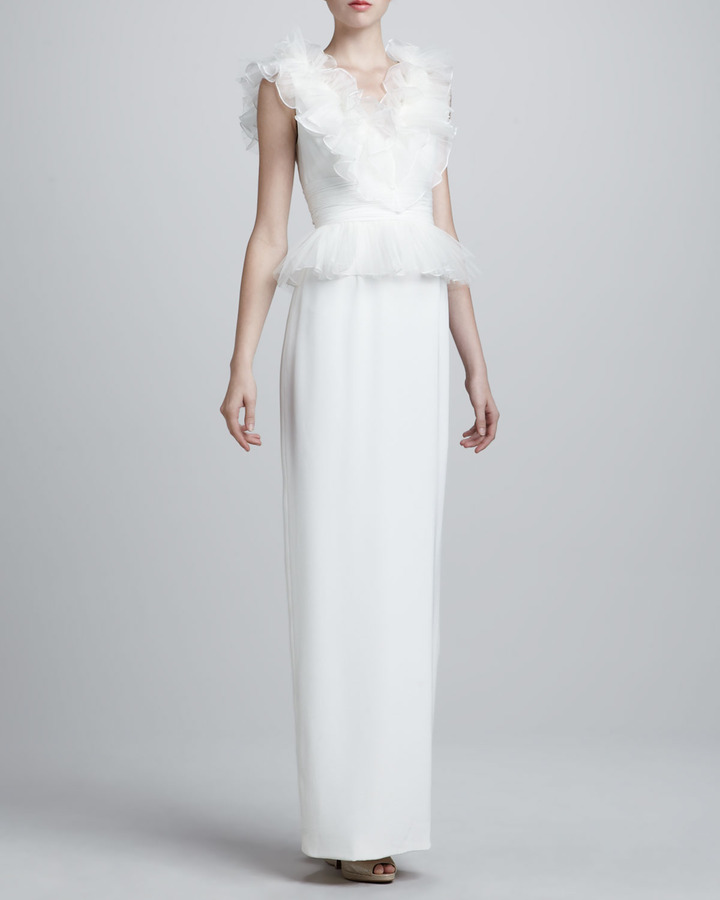 Notte by Marchesa Ruffled V-Neck Gown