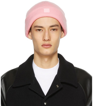 Acne Studios SSENSE Exclusive Pink Wool Patch Beanie