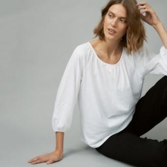 The White Company Organic Cotton Jersey Boho Top, White, 6