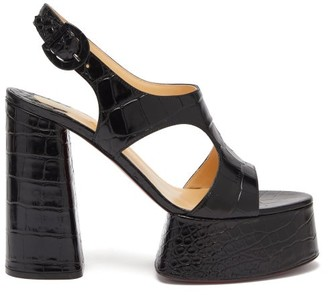 Christian Louboutin Foolish 130 Croc-effect Leather Platform Sandals - Black