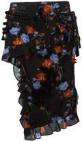 No.21 floral print ruffled skirt