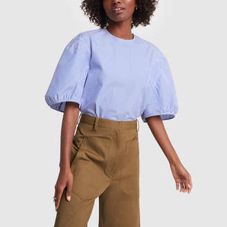 Tibi Striped Shirting Balloon-Sleeve Top