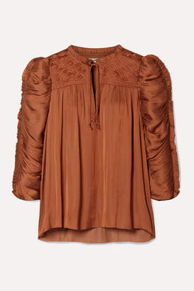 Ulla Johnson Lissa Ruched Embroidered Charmeuse Blouse - Orange