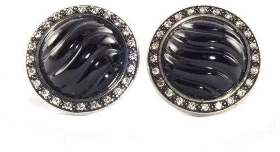 David Yurman Silver Black Onyx Diamond Cable Button Earrings Sterling