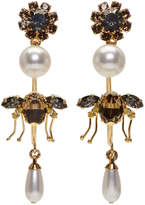 Erdem Gold Bee Hoop Drop Earrings