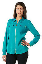 As Is Susan Graver Solid Stretch Peachskin Zip Front Jacket