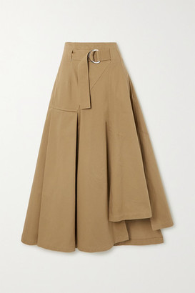 3.1 Phillip Lim Space For Giants Belted Asymmetric Pleated Organic Cotton-twill Skirt - Taupe